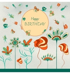 Kids birthday card vector image