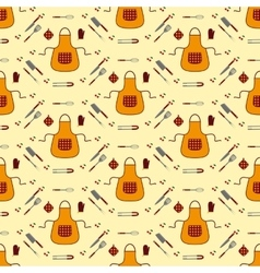 Kitchen seamless pattern vector image vector image