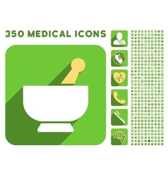 Mortar icon and medical longshadow icon set vector