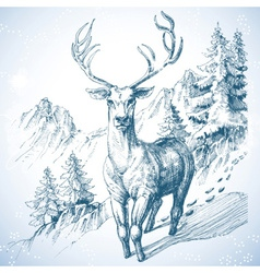 Mountain pine tree forest and deer sketch vector