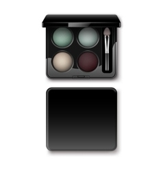 Multicolored cream blue vinous eye shadows in case vector