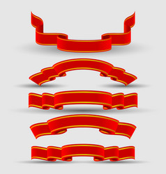 Set of bright red ribbons vector