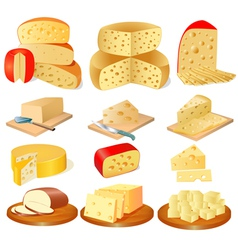 Set of different types of cheese vector