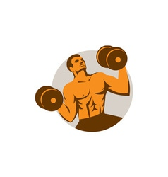 Strongman crossfit lifting dumbbells circle retro vector