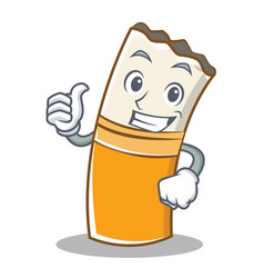 thumbs up cigarette character cartoon style vector image