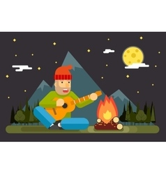 Traveler Sings Plays Night Camp Guitar Campfire vector image