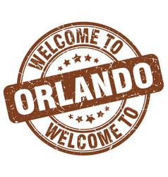 Welcome to orlando brown round vintage stamp vector