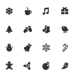 Winter shape style stickers icon set vector image vector image
