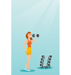 Woman lifting dumbbell vector