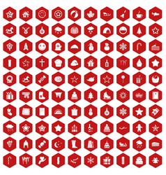100 christmas icons hexagon red vector image vector image