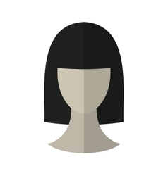 Flat icon hairstyle brunette hair wig vector