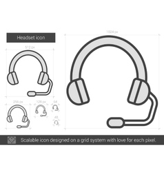 Headset line icon vector