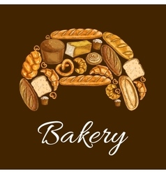 Croissant with bread and bun bakery poster design vector