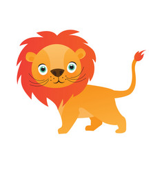 cute lion cartoon on white background vector image