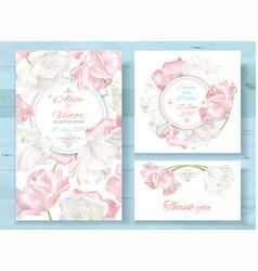 tulip invitations set vector image
