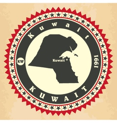 Vintage label-sticker cards of kuwait vector