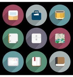 Flat icons of objects business office items vector
