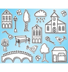 Town or city design elements vector