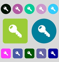 Key sign icon unlock tool symbol 12 colored vector