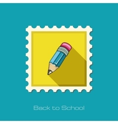 Pencil flat stamp vector