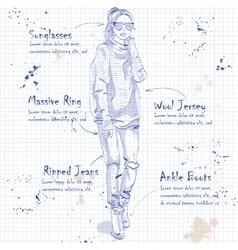 Fashion look on a notebook page vector