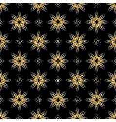 Black seamless texture with golden elements vector