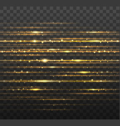 abstract gold laser beams with shiny sparks vector image vector image