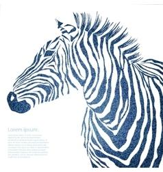 Animal of jeans zebra vector image