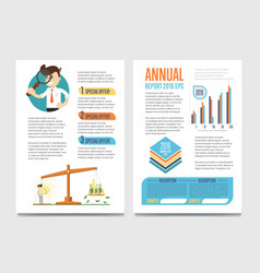 Annual report template set with diagram vector