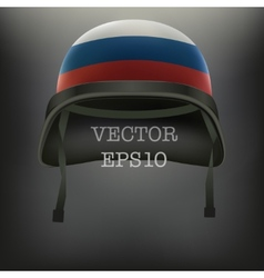 Background of helmet with russian flag vector
