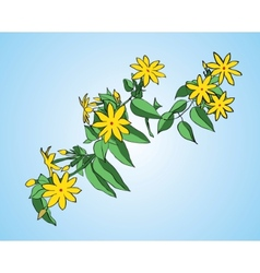 Branch with green leaves and yellow flowers vector