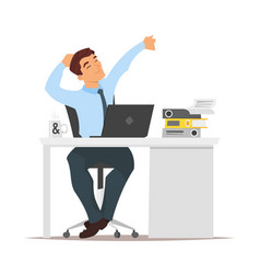 businessman sitting at his workplace and resting vector image vector image
