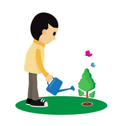 child is watering a tree cartoon vector image vector image