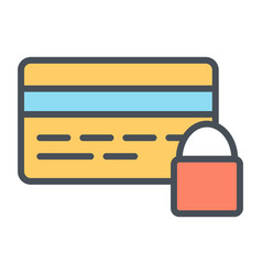 credit card security with lock line icon 48x48 vector image vector image