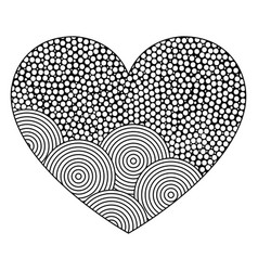 decorative heart with ornament of circles page vector image