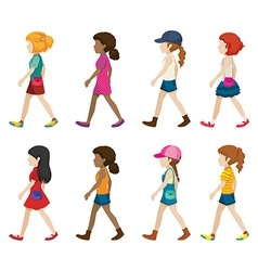 Faceless young girls walking vector image vector image