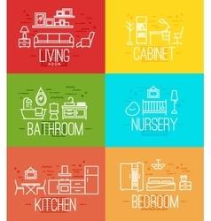 Flat room furnishing vector
