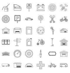 Gate icons set outline style vector