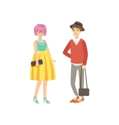 Girl with pink hair in yellow skirt and guy shotr vector