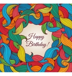 Happy brithday card with frame of colored foliage vector