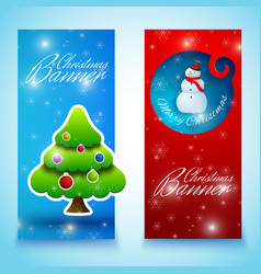 happy new year and merry christmas banners set vector image