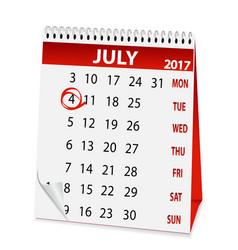Icon calendar for july 4 2017 vector