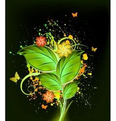 Ink floral background vector image