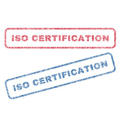 Iso certification textile stamps vector
