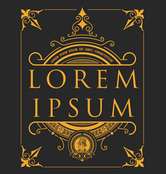 Label with baroque elements and heraldic shield vector
