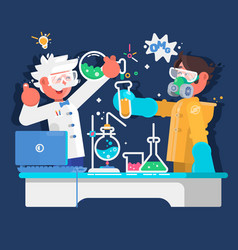 Laboratory assistants work in scientific medical vector