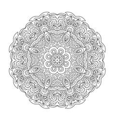 mandala coloring eastern pattern zentangl round vector image vector image