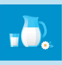 milk jug and glass vector image vector image