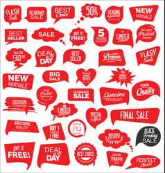 Modern sale stickers and tags red collection 1 vector