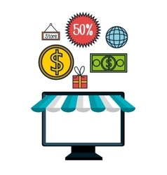 Monitor pc e-commerce shop online design vector